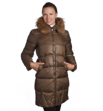 19KZ15 - dlouhá dámská zimní bunda s pravým kožíškem