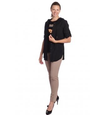 Kaptur - dámská černá košile s kapucí z lehké bavlny