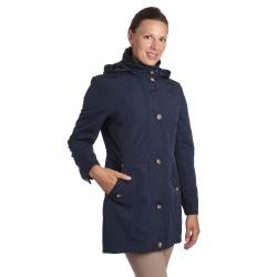 Sandra - dámská dlouhá přechodová bunda tmavě modrá