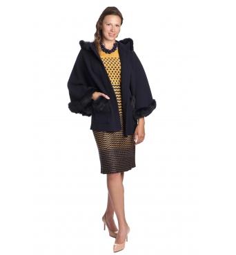BARLETTA - dámská tmavě modrá pelerína s kožíškem
