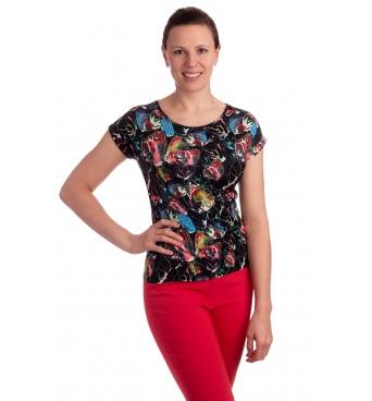 K021-110T - dámské tričko duhové květy