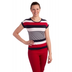 K021-102T- dámské tričko barevné proužky
