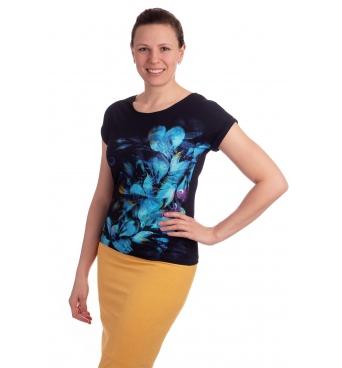 K021-313T - dámské tričko modré květy