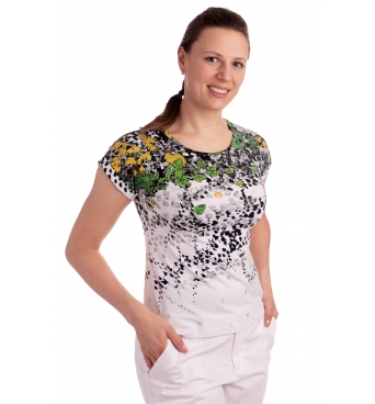 K021-107T  - dámské tričko zelené listí