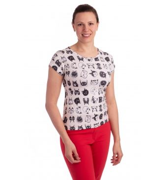 K021-116T - dámské tričko kočky