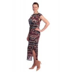 YS238-218  - dlouhé dámské letní šaty s geometrickým vzorem