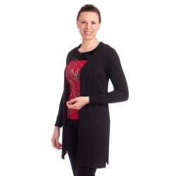 DAM195 - dámský dlouhý černý kardigan