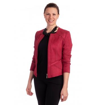 ST452 - dámský semišový kabátek bordó