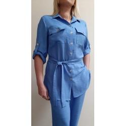 F001 - dámský letní modrý kostým
