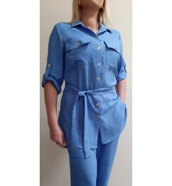 F001 - dámský dlouhý letní modrý kabátek