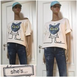 """She´s - dámské tričko kočka """"bighead"""" krémová"""