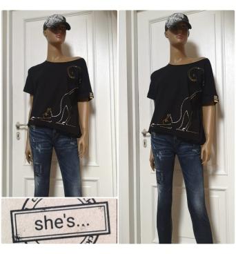 She´s - dámské tričko kočka černé