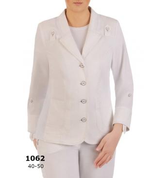AST1062 - dámské bílé bavlněné sako Safari