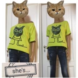 """She´s - dámské tričko kočka """"bighead""""  limetka"""
