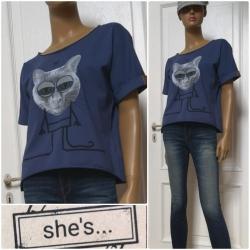 """She´s - dámské tričko kočka """"bighead""""  tmavě modrá"""